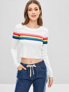Long Sleeve Rainbow Striped Cropped Tee - White M