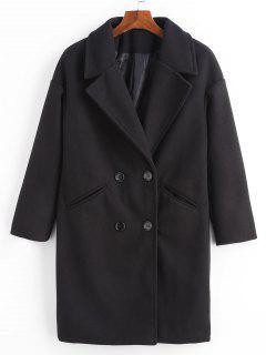 Double Breasted Plain Lapel Coat - Black M