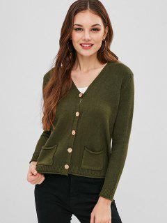 Front Pocket Knit Slit Cardigan - Army Green