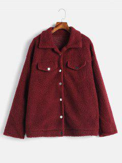 Faux Pockets Button Up Fluffy Coat - Red Wine Xl