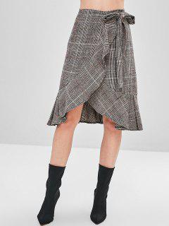 Knee Length Flounce Plaid Wrap Skirt - Multi M