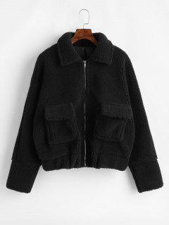 Flap Pockets Zip Up Faux Shearling Teddy Coat - Black L