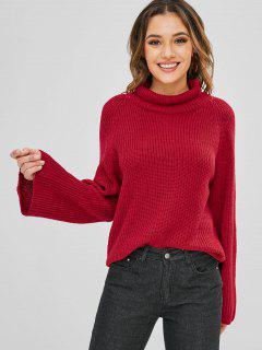 Suéter Liso Con Cuello Raglan De Cuello Alto - Rojo Cereza