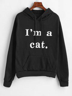 Front Pocket Graphic Cat Hoodie - Black M