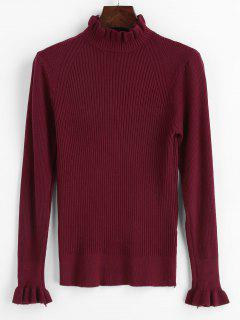 Rüschen Gerippter Pullover Mit Rüschen - Roter Wein