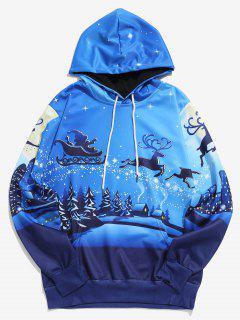 Christmas Reindeers Sleigh Print Hoodie - Ocean Blue L