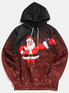 Santa Claus Selfie Print Hoodie - Red Wine S