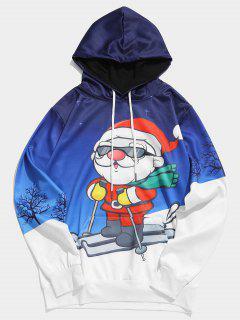 Skifahren Weihnachtsmann Gedruckt Weihnachten Hoodie - Ozeanblau M