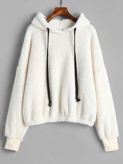 ZAFUL Oversized Fleece Pullover Hoodie - Warm White S