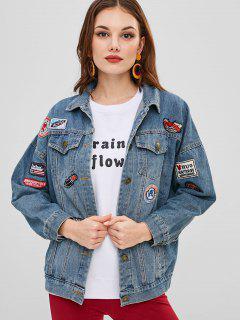 Patched Pocket Denim Jacket - Denim Blue L