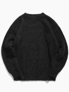 Round Collar Solid Color Mohair Sweater - Black M