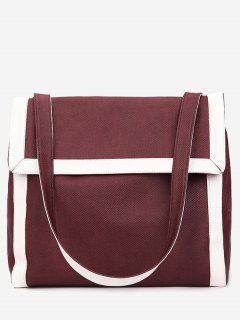 Wideband Design Splicing Shoulder Bag - Red Wine