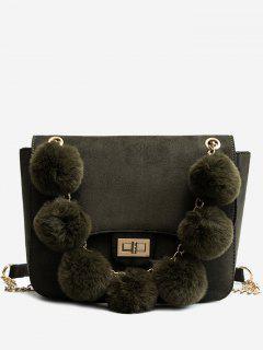 Plush Balls Decoration Hasp Handbag - Fern Green