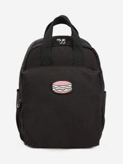 Cake Printed Student Backpack - Black