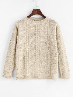 Slit Cable Knit Drop Shoulder Sweater - Warm White