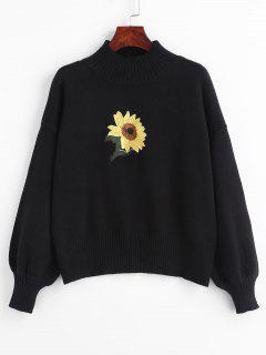 Suéter Bordado Con Cuello Simulado De Girasol - Negro
