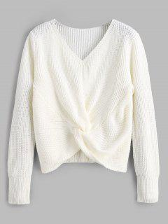 V Neck Twist Front Pullover Sweater - White