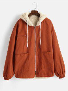 Manteau à Capuche En Peau De Mouton à Cordon - Brun Légère M