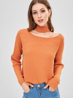 Suéter Acanalado Con Cuello Redondo Y Gargantilla - Mango Naranja