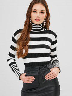 Striped High Neck Fitted Sweater - Black