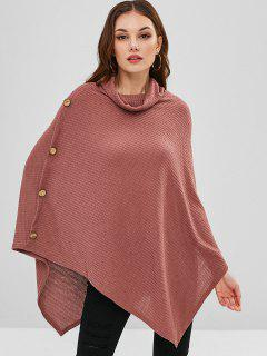 Button Embellished Poncho Sweater - Brown M