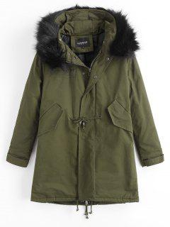 Detachable Faux Fur Hooded Padded Coat - Army Green M