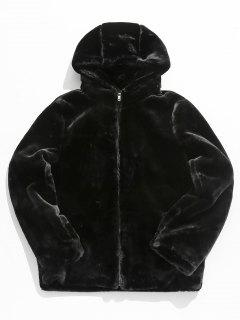Solid Faux Fur Thick Jacket - Black L