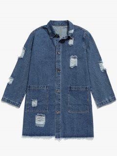 Solid Ripped Denim Trench Coat - Blue M