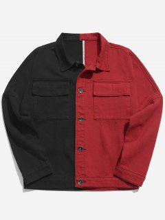 Patchwork Letter Podcket Denim Jacket - Red L