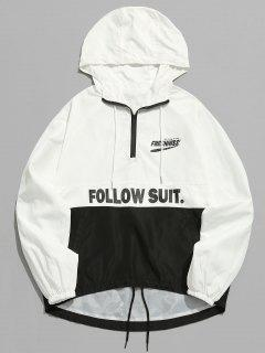 Contrast Half Zip Letter Pullover Jacket - White 2xl