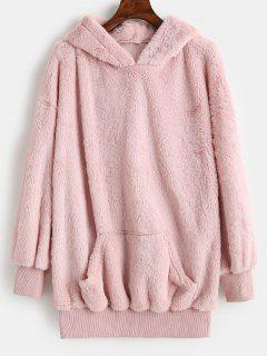ZAFUL Kangaroo Pocket Longline Fluffy Hoodie - Pink L