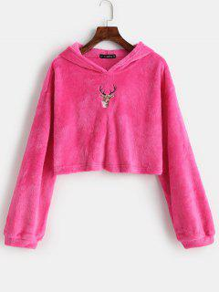 ZAFUL Reindeer Embroidered Christmas Fluffy Hoodie - Rose Red S