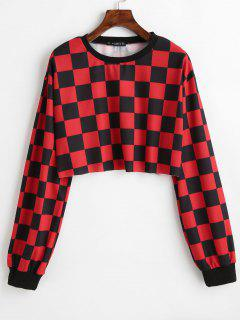 ZAFUL Contrast Checkered Crop Sweatshirt - Red M