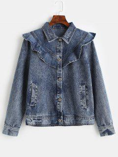 ZAFUL Ruffles Button Up Denim Jacket - Denim Dark Blue M