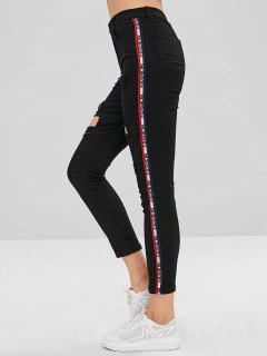 Side Letter Graphic Rippded Jeans - Black S