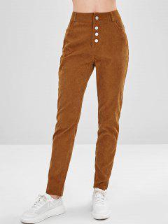 Button Fly Corduroy Pants - Light Brown M