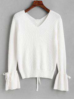 Flare Sleeve V Neck Lace Up Sweater - White
