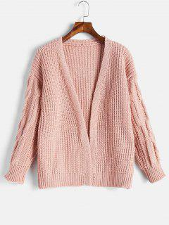 Cable Knit Open Front Chunky Cardigan - Light Pink