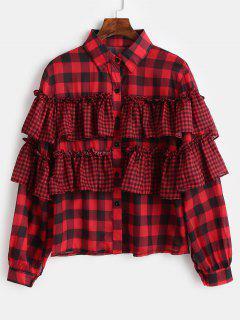 Botón Abajo De La Camisa De Tela Escocesa De Volantes - Rojo Lava Xl