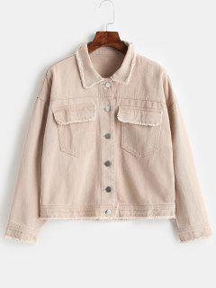 Frayed Button Up Jacket - Apricot M