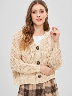 Cable Knit Contrast Buttons Dolman Cardigan - Blanched Almond