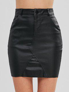 Raw Hem Faux Leather Skirt - Black S