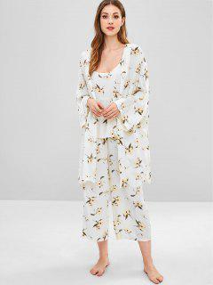 Floral Camisole Pants With Slit Robe Pajamas - White M