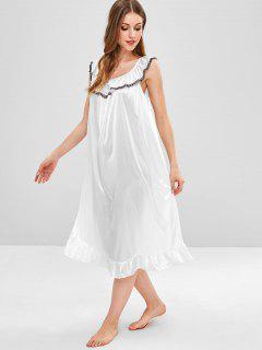 Satin-Pyjama-Kleid Mit Spitzeneinsatz Und Rüschen - Weiß