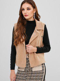 Turndown Collar Fluffy Rivet Waistcoat - Camel Brown M