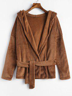 Plain Belted Hooded Fluffy Coat - Brown M
