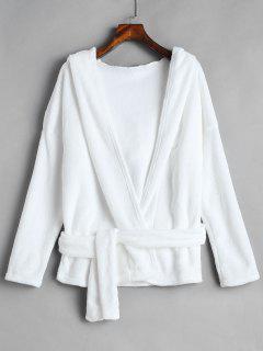 Plain Belted Hooded Fluffy Coat - White M