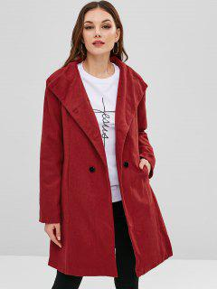 Belted Double Breasted Woolen Coat - Red M