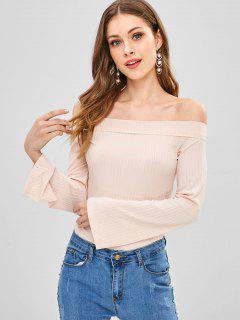 Off Shoulder Knit Bell Sleeve Tee - Apricot L