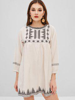 Long Sleeve Embroidered Tunic Dress - Beige S